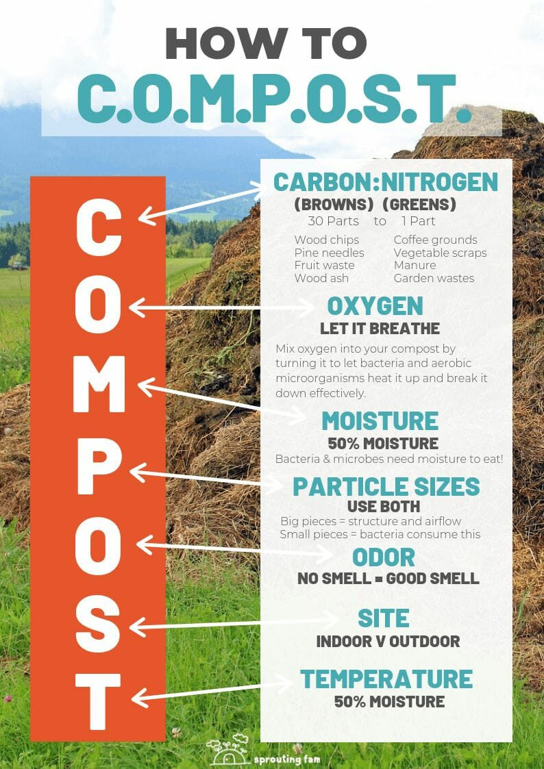 how to make a compost pile infographic