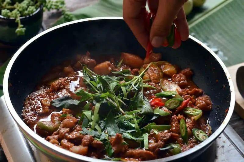 kaffir lime on thai panang curry