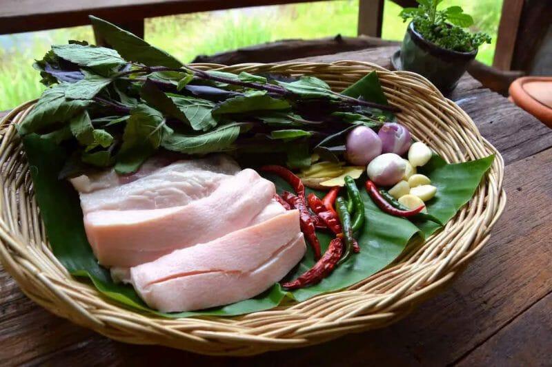 Thai Pad Krapow Recipe Ingredients (with pork belly)