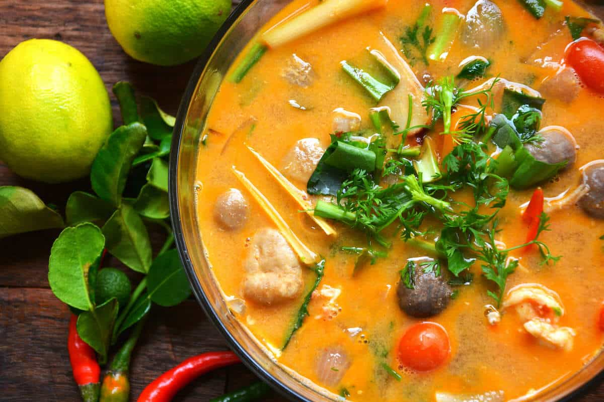 tom yum soup finished top view
