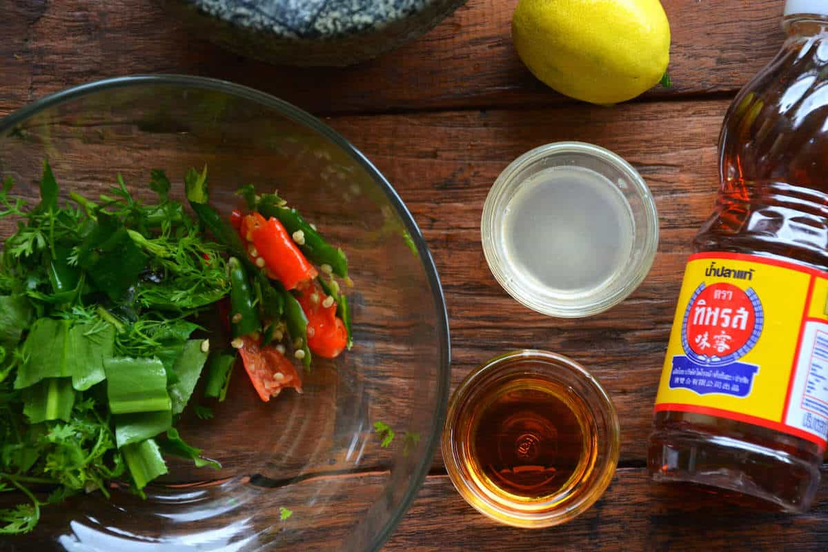 fish sauce and fresh lime juice for the tom yum