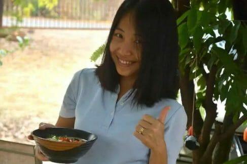 Ling showing off her Tom Kha Gai Soup!